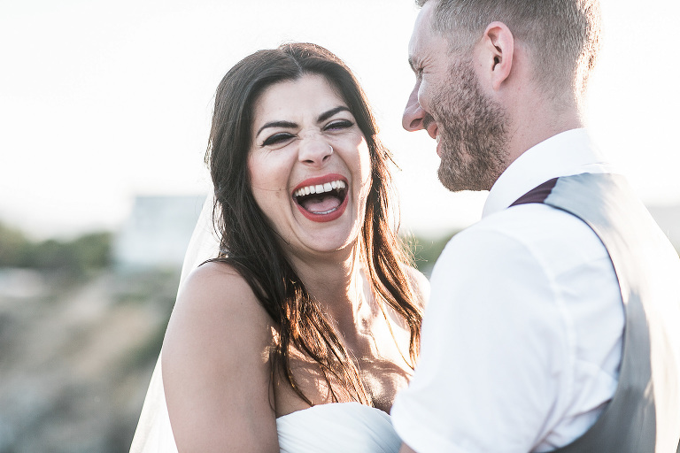 Bride laughing in Ibiza